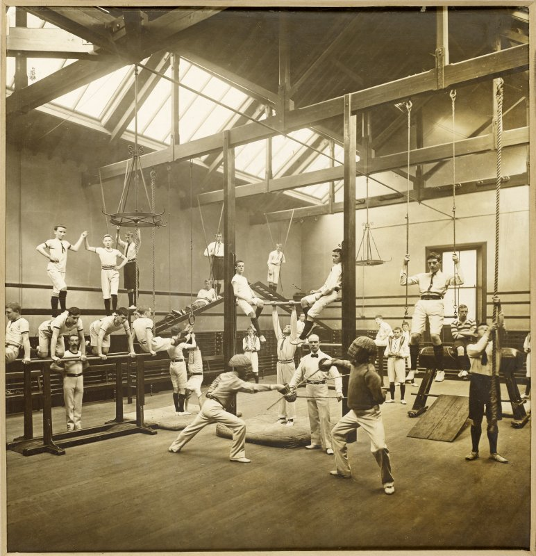 Interior view of George Watson's College for Boys, Edinburgh showing gymnasium.  Titled: 'George Watson's College for Boys. Edinburgh Merchant Company Schools No1'.