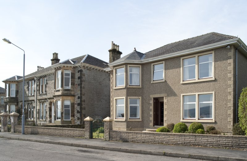 General view of 21, 22, 23, 24 and 25 Pointhouse Crescent, Port Bannatyne, Bute, from N