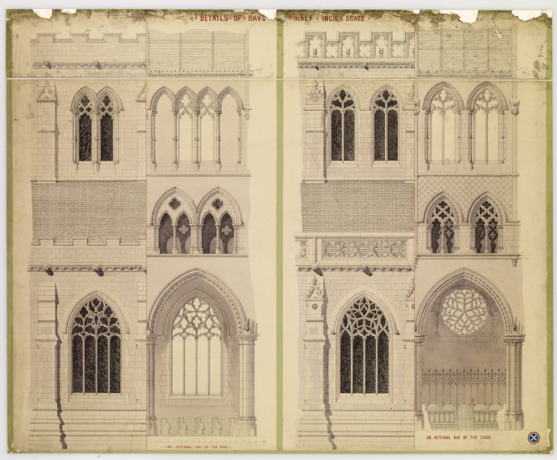 Drawing showing details of bays, St. Mary's Episcopal Cathedral, Edinburgh.