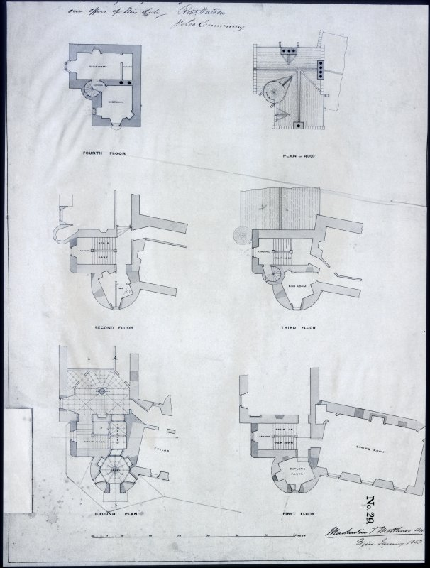 Ballindalloch Castle. Mechanical copy from photostat negative showing  plans of Ground Floor, First Floor, Second Floor, Third Floor, Fourth Floor and roof.