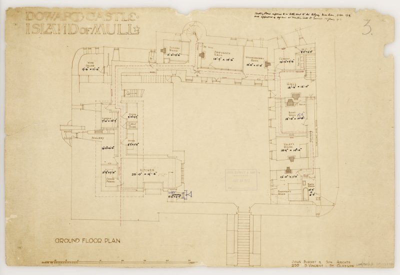 Isle of Mull, Duart Castle. Ground floor plan. Title: 'Dowart Castle Island of Mull'. Insc: 'John Burnet & Son Archts 239 S. Vincent St Glasgow.'  'John Burnet & Son Received Dec 16 1912'.