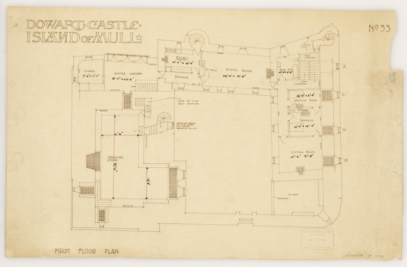Isle of Mull, Duart Castle. First floor plan. Title: 'Dowart Castle Island of Mull'. Insc: 'John Burnet & Son Archts 239 S. Vincent St Glasgow.'  'John Burnet & Son Received Dec 16 1912'.