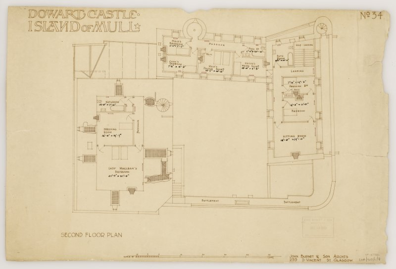 Isle of Mull, Duart Castle. Second floor plan. Title: 'Dowart Castle Island of Mull'. Insc: 'John Burnet & Son Archts 239 S. Vincent St Glasgow.'  'John Burnet & Son Received Dec 16 1912'.
