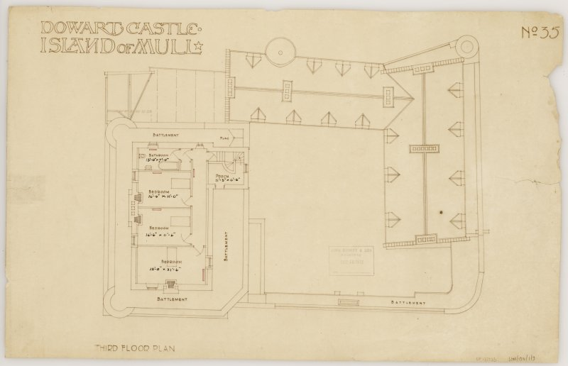 Isle of Mull, Duart Castle. Third floor plan. Title: 'Dowart Castle Island of Mull'. Insc: 'John Burnet & Son Archts 239 S. Vincent St Glasgow.'  'John Burnet & Son Received Dec 16 1912'.