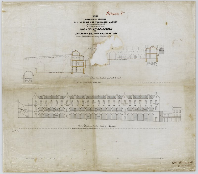 Drawing showing elevation and sections of the Fruit and Vegetable Market, Edinburgh between Cockburn, North Bridge and Market Street. Titled: 'No III. Elevation and sections. Site for Fruit and Vegetable Market proposed by Claimants in submission between the City of Edinburgh and the North British Railway Coy under the North British Railway (Stations) Act'. Signed and dated: 'David Cousin 4 December 1861'.