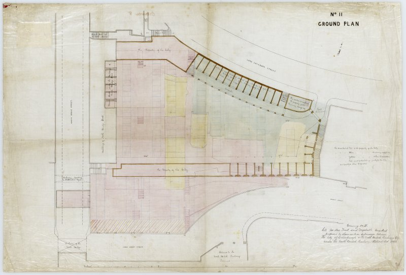 Drawing showing ground plan of proposed Fruit and Vegetable Market, Edinburgh.