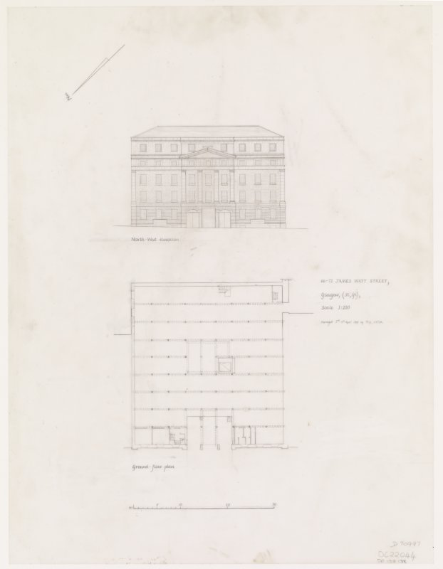 Glasgow, 66-72 James Watt Street. Drawing of North-West elevation and ground floor plan. Insc: '66-72 James Watt Street... Glasgow, (St,Gl), Scale 1:2000.....North-West elevation......Ground Floor Plan'.