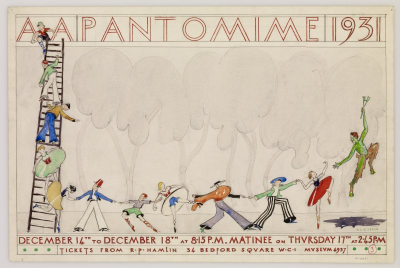 Student poster design for A A Pantomime, 1931. Signed: B.L.C Leech