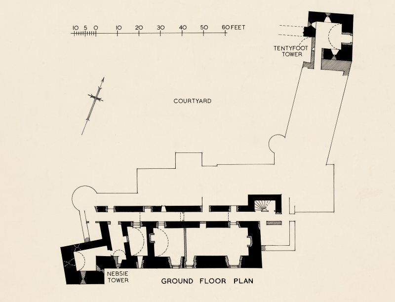 Ground floor plan, including Nesbie Tower and Tentyfoot Tower. RCAHMS Inventory article 242, fig. 169  464116 N xxiii