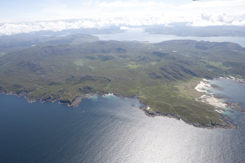 General oblique view of Sanna, Portuairk and the Ardnamurchan volcano, looking to the E.