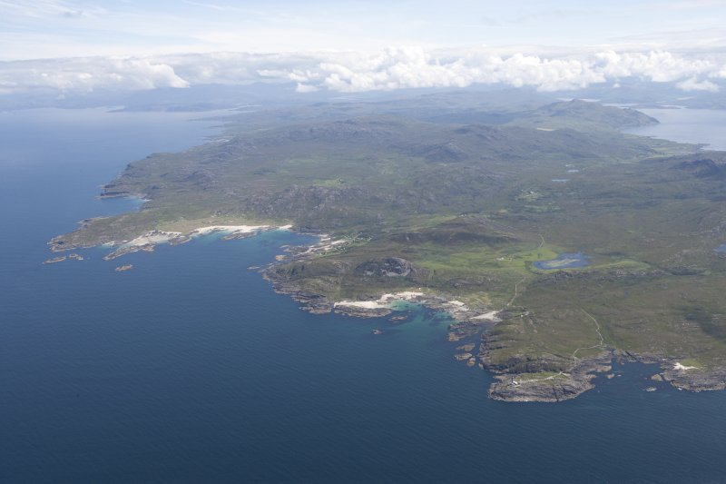 General oblique view of Sanna, Portuairk and the Ardnamurchan volcano, looking to the SE.