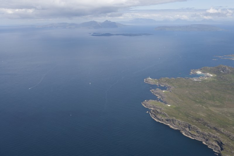 General oblique view of the Point of Ardnamurchan looking towards the island of Muck, looking N.