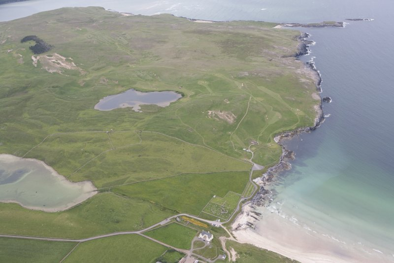 General oblique aerial view of Durness Golf Course, looking to the W.