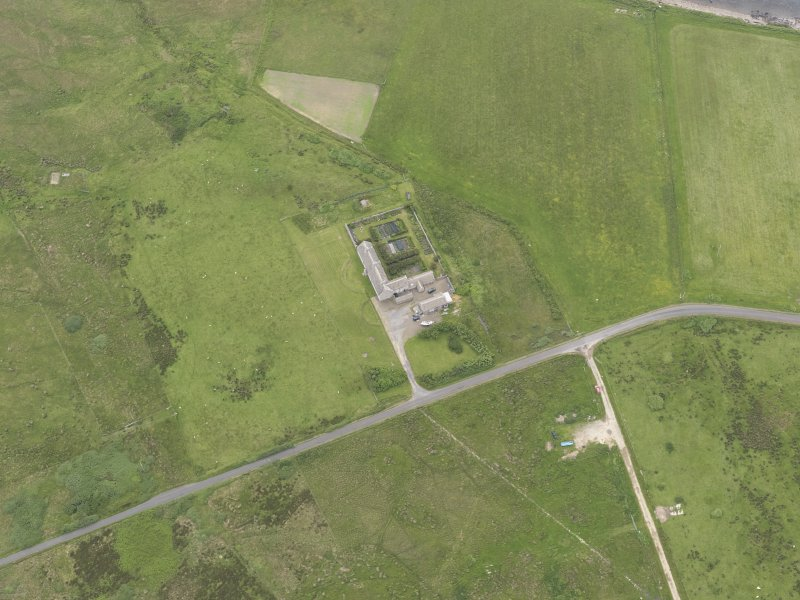 Oblique aerial view centred on Rysa Lodge, Hoy, looking ESE.