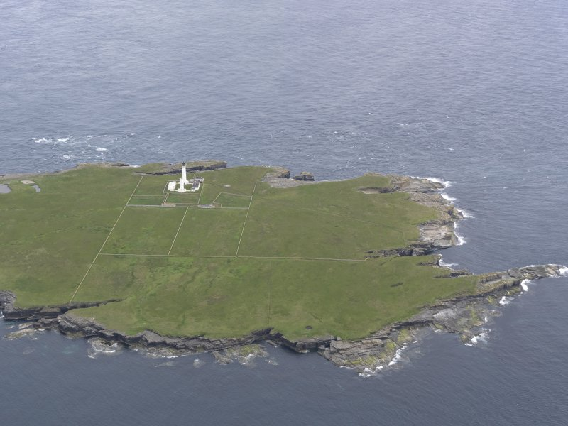 General oblique view of Muckle Skerry, looking to the NNW.