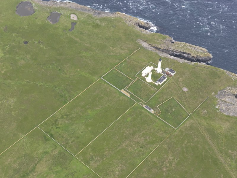 Oblique view of Muckle Skerry, centred on the lighthouse, looking to the NW.