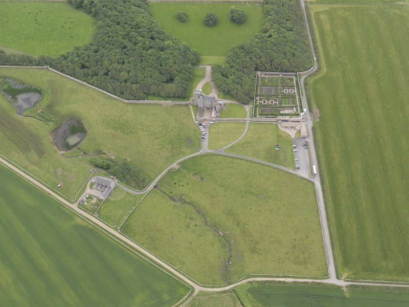 Oblique aerial view centred on Castle of Mey, looking S.