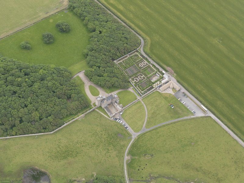 Oblique aerial view centred on Castle of Mey, looking SW.
