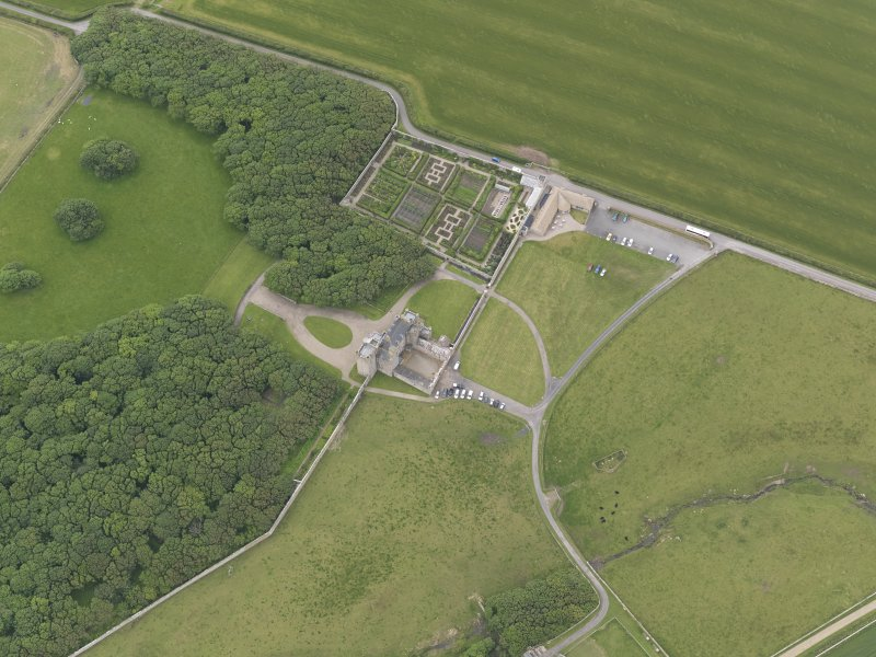 Oblique aerial view centred on Castle of Mey, looking W.