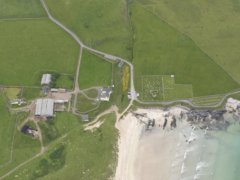 Oblique aerial view centred on Balnakeil House and Durness Parish Church, looking SSW.