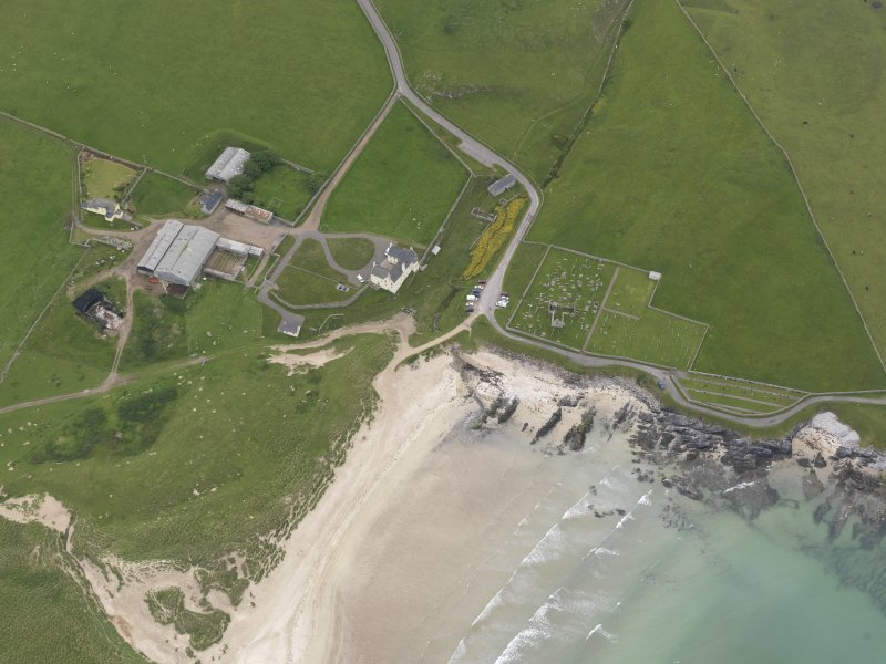 Oblique aerial view centred on Balnakeil House and Durness Parish Church, looking S.