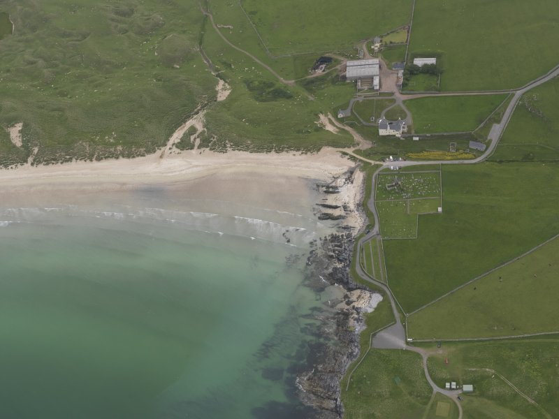 Oblique aerial view centred on Balnakeil House and Durness Parish Church, looking ESE.