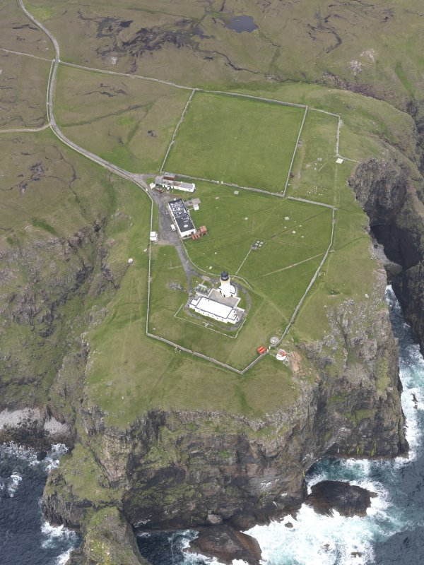 Oblique aerial view centred on Cape Wrath lighthouse, looking SSE.