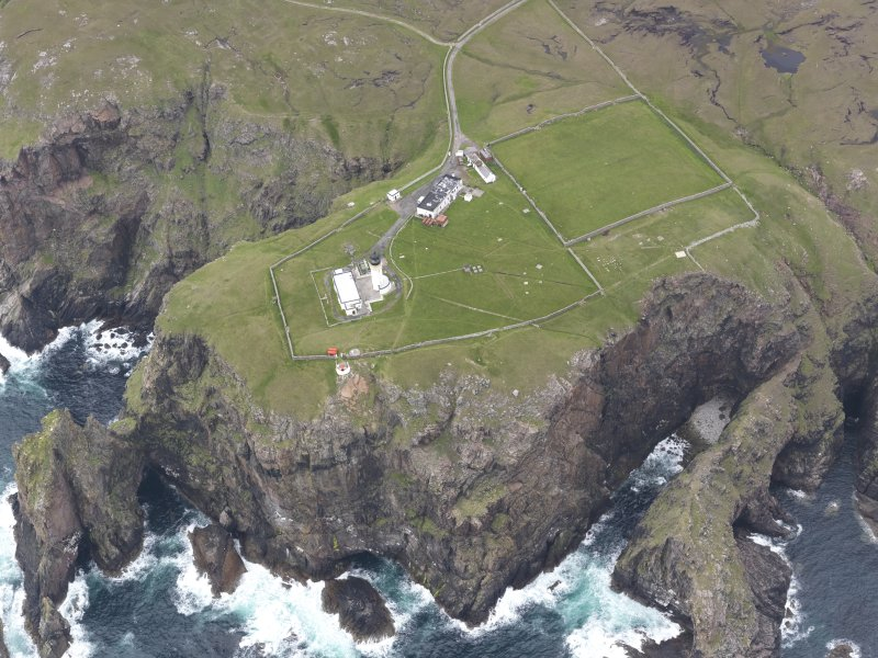 Oblique aerial view centred on Cape Wrath lighthouse, looking SE.