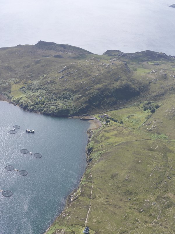 Oblique aerial view of the anchorage, Tanera Mor/Tannara Mor, looking S.