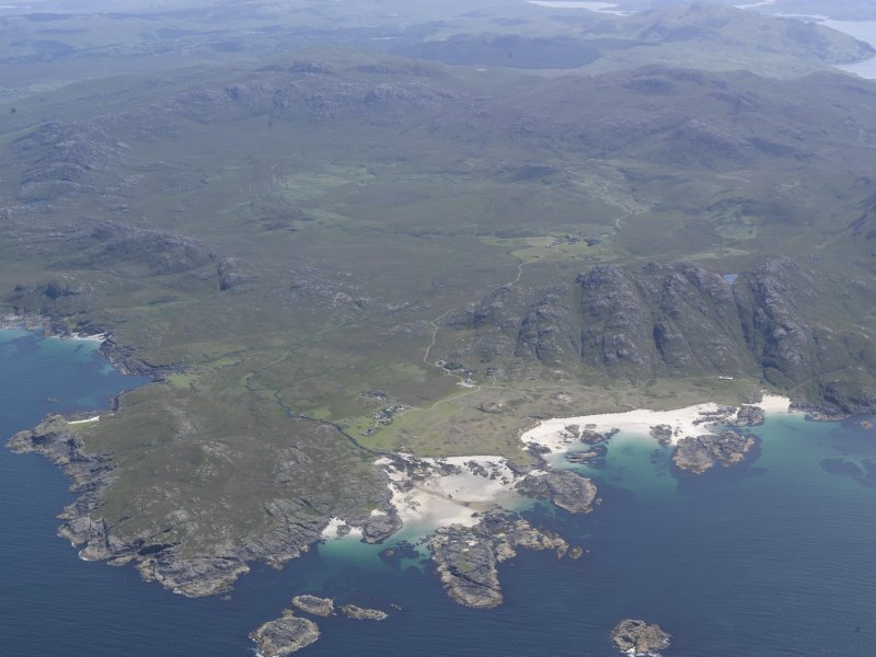 Oblique aerial view of Sanna and the Ardnamurchan volcano, looking E.