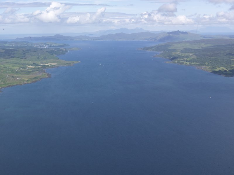 General oblique aerial view of the Sound of Mull, the Ardnamurchan peninsula and the island of Rum, looking N.