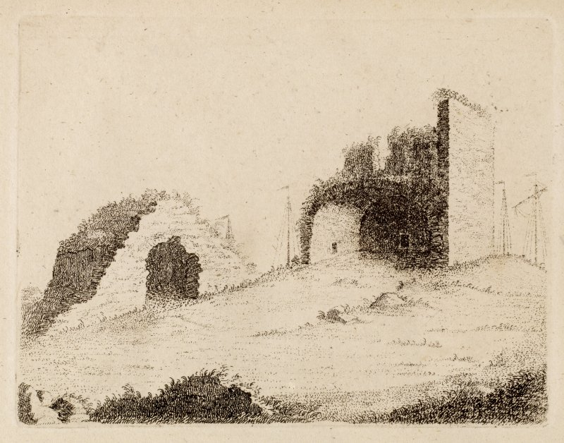 View of North Berwick Church from NE, within the grounds of the Priory. From Adam de Cardonnel, Picturesque Antiquities of Scotland.
