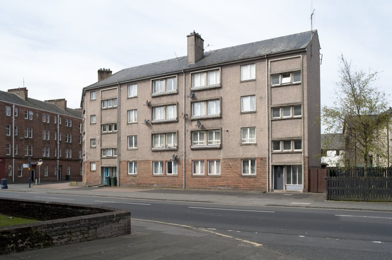 General view from E showing late 20th century council housing at 68-70 High Street and 2 Russell Street, Rothesay, Bute