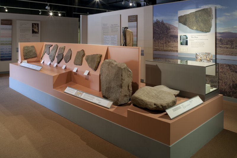 General view of display of Pictish Stones in Inverness Museum