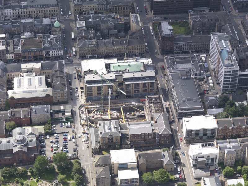 Oblique aerial view of Glasgow School of Art, taken from the ESE.