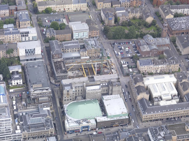 Oblique aerial view of Glasgow School of Art, taken from the SSW.