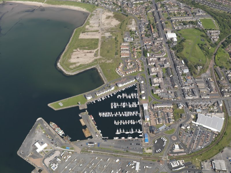Oblique aerial view of Ardrossan centred on the marina, taken from the SW.