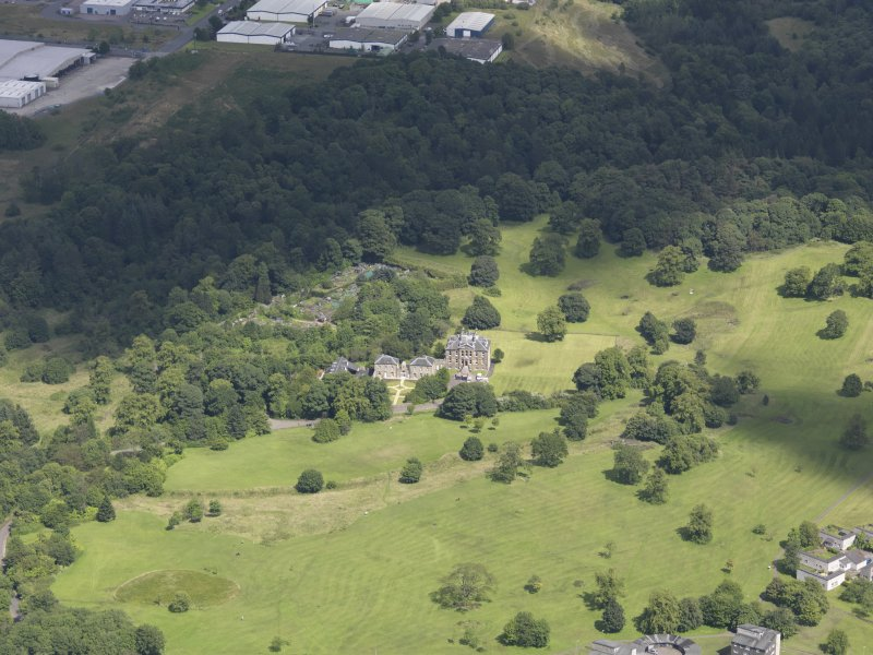 Oblique aerial view of Cumbernauld House, taken from the S.
