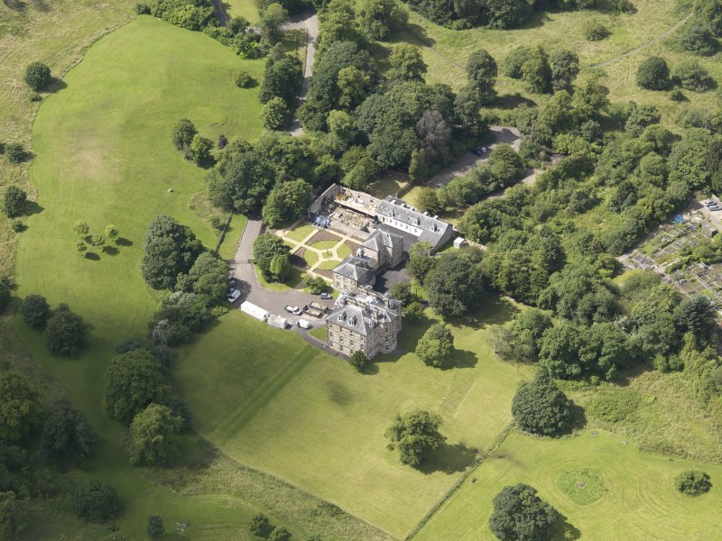 Oblique aerial view of Cumbernauld House, taken from the E.