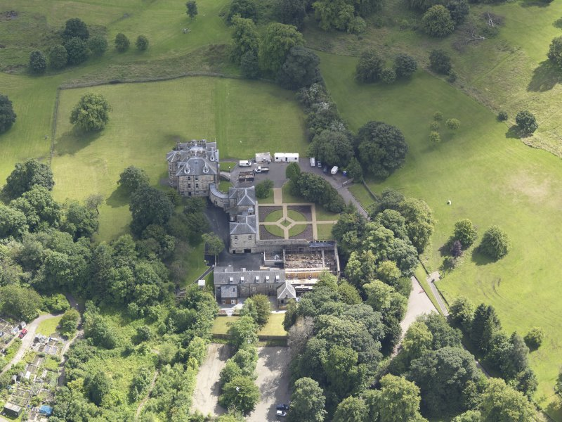 Oblique aerial view of Cumbernauld House, taken from the N.