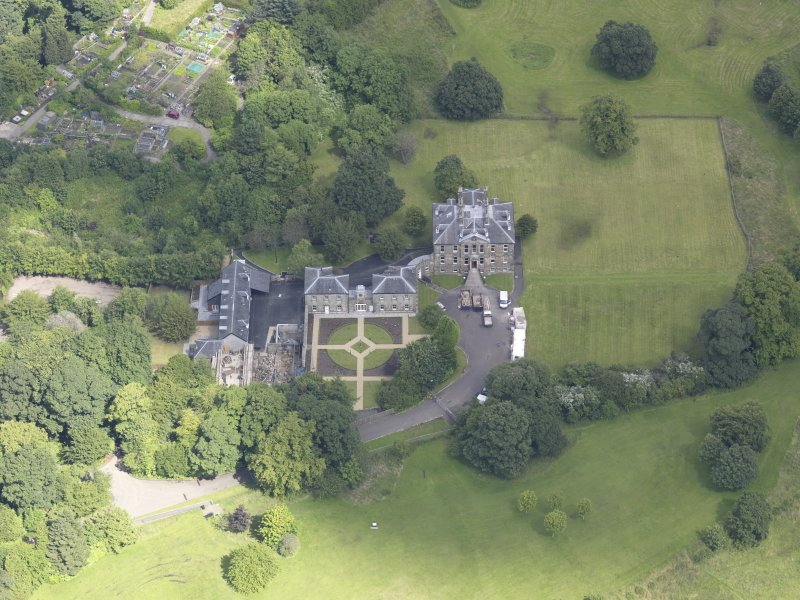 Oblique aerial view of Cumbernauld House, taken from the SW.