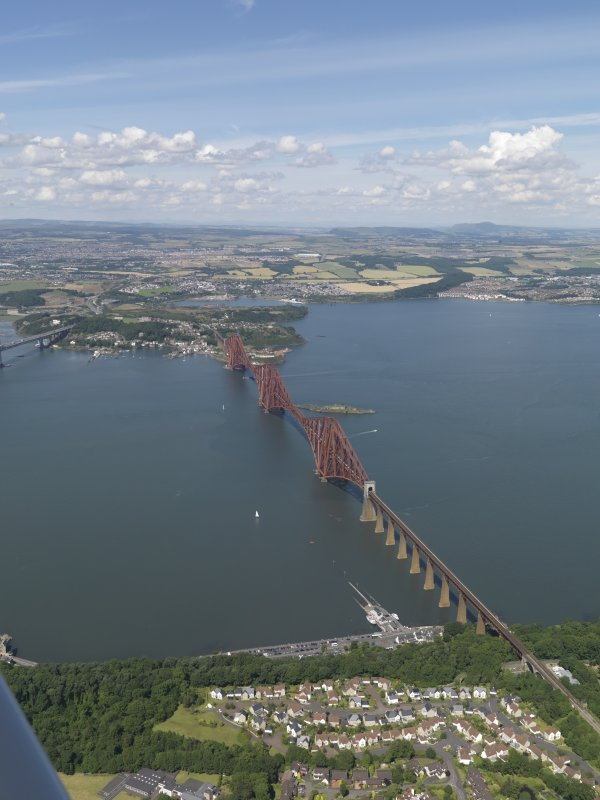 Oblique aerial view of the Forth Bridge, taken from the S.