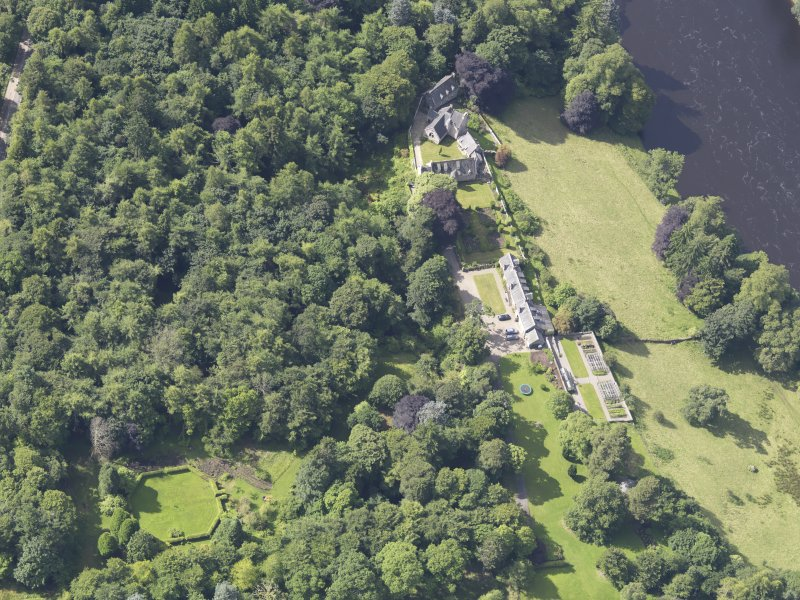 Oblique aerial view of Stobhall Castle, taken from the NNE.