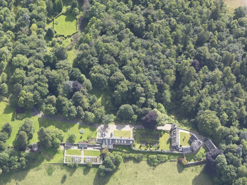 Oblique aerial view of Stobhall Castle, taken from the NNW.