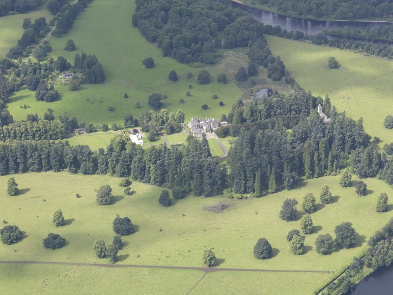 Oblique aerial view of Murthly Castle, taken from the ENE.