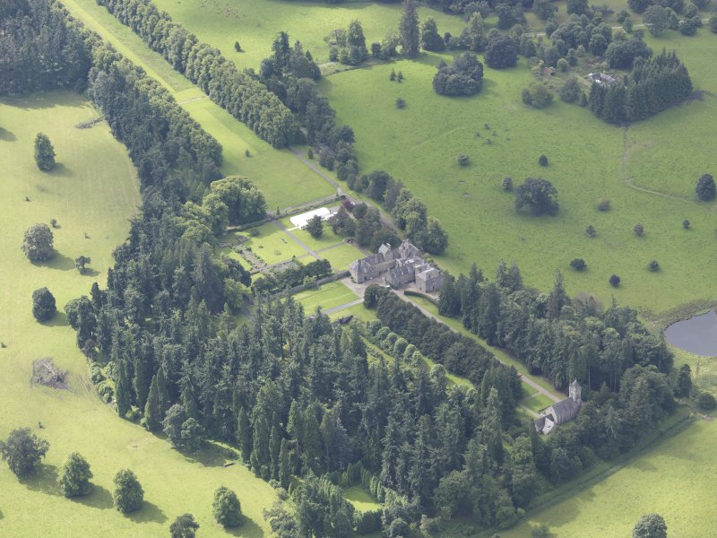 Oblique aerial view of Murthly Castle, taken from the NE.