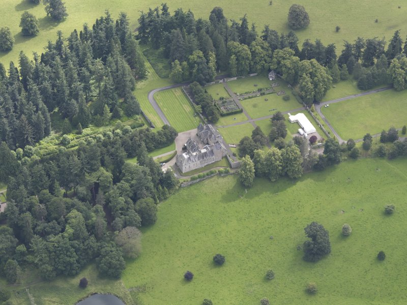 Oblique aerial view of Murthly Castle, taken from the W.
