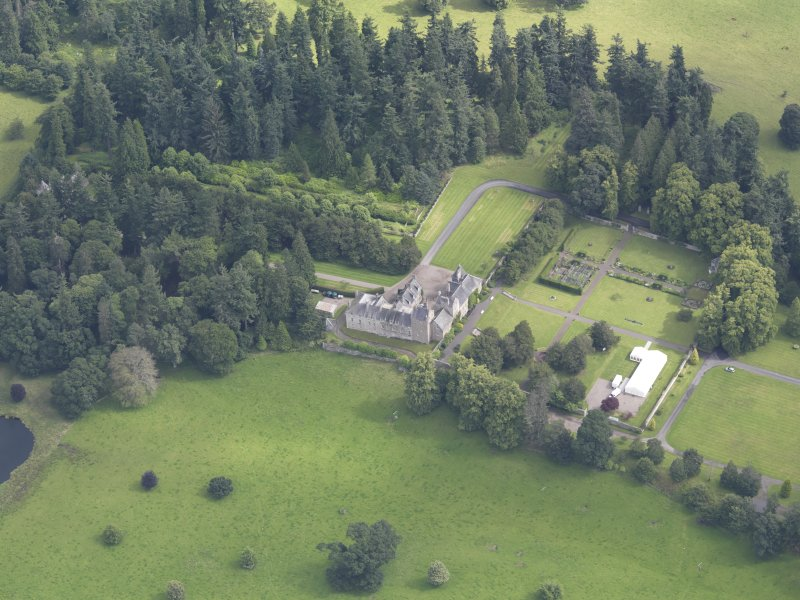Oblique aerial view of Murthly Castle, taken from the WSW.