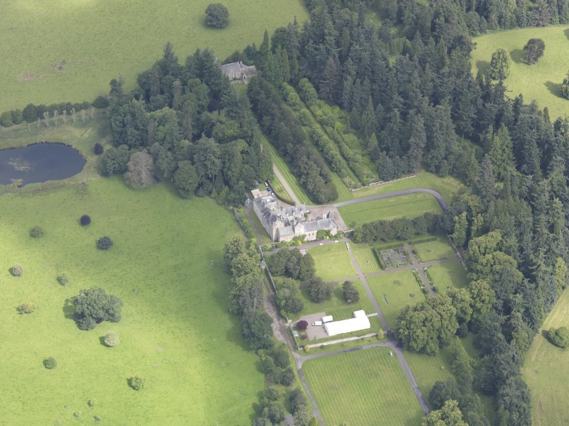 Oblique aerial view of Murthly Castle, taken from the SSW.