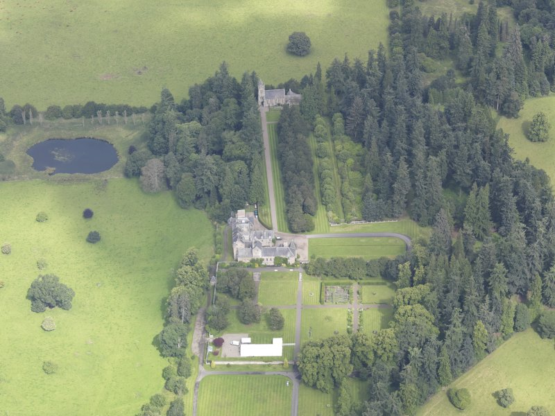 Oblique aerial view of Murthly Castle, taken from the S.
